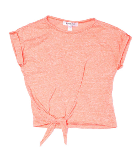 Joah Love Tasha Coral Tri Blend Side Tie Top (10yrs)