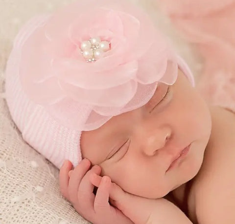Ily Bean Light Pink Flower with Pearls Striped Pink Beanie (0-3M)