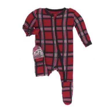 KicKee Pants Christmas Plaid Zippered Footie