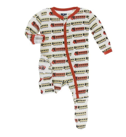 KicKee Pants Natural Indian Train Zippered Footie