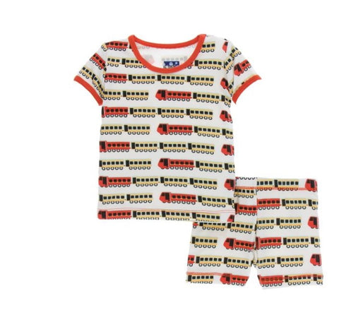 KicKee Pants Natural Indian Train PJs with shorts