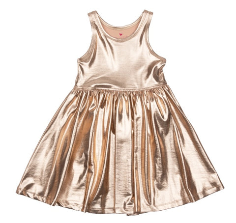 Pink Chicken Liza Rose Gold Lame Dress