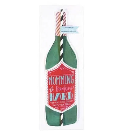 Carly Girl Design Wine Bottle Straw Card Mommying