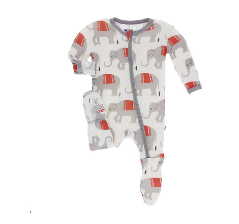 KicKee Pants Natural Indian Elephant Zippered Footie