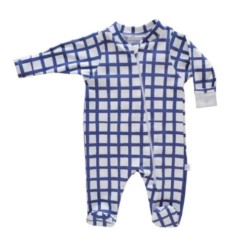 Jennifer Ann Blue Grid Organic Footie