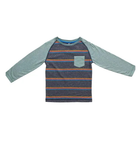 Bear Camp Navy Stripe Raglan Baseball Tee