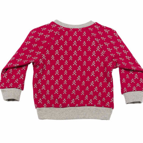 Paper Wings Red & Grey Pullover
