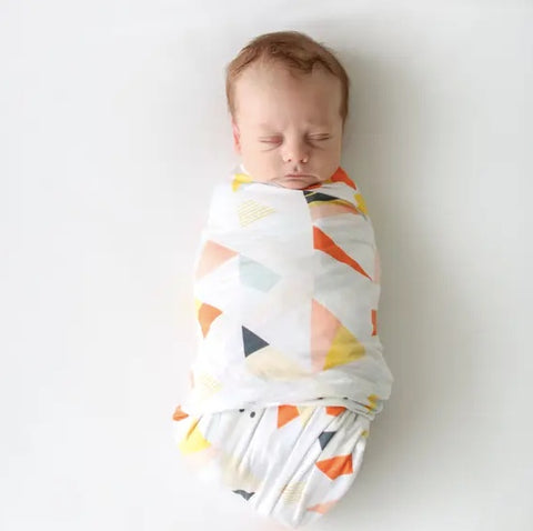 Posh Peanut Retro Triangle Infant Swaddle & Beanie Set