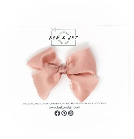 Rose Gold Raw Silk Bow