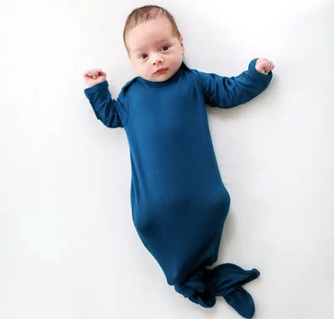 Posh Peanut Sailor Blue Knotted Gown (0-3M)