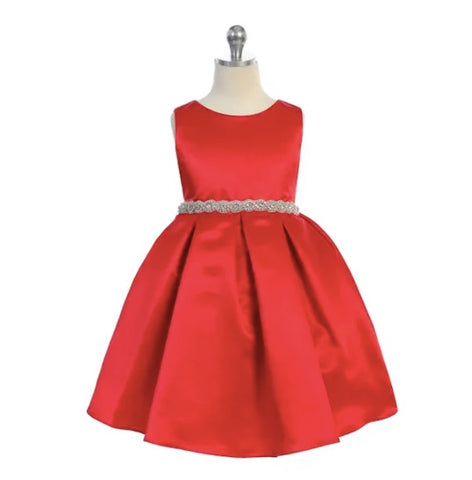 Ellie Kids Satin & Rhinestone Red Dress
