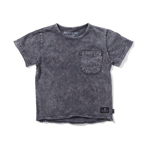 Munsterkids Black Acid Wash Short Sleeve Tee