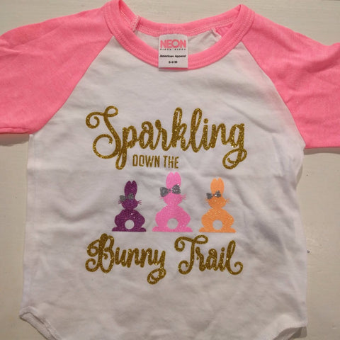 Sparkle Bowtique Sparkling Down the Bunny Trail Raglan