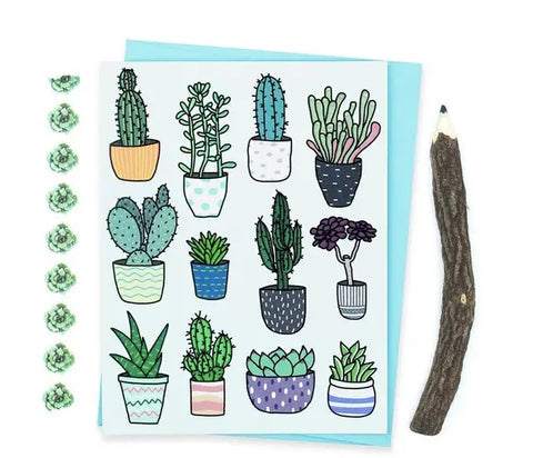 Turtle Soup Potted Succulent Pattern Blank Card