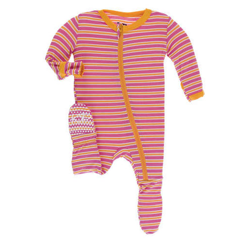 KicKee Flamingo Brazil Stripe Zippered Footie