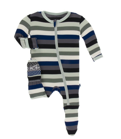 KicKee Pants Zoology Stripe Zippered Footie