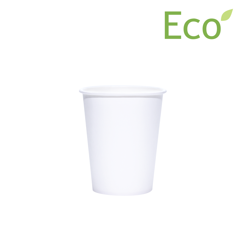 8oz White Paper Coffee Cup Compostable Disposable Cups with Biodegradable Lids