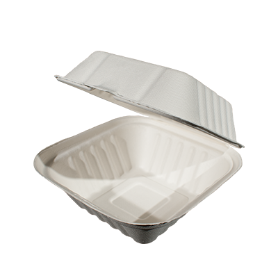 Bagasse Hinged Container 6X6 1 Compartment