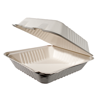 Bagasse Hinged Container 8X8 1 Compartment