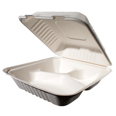 Bagasse Hinged Container 8X8 3 Compartment