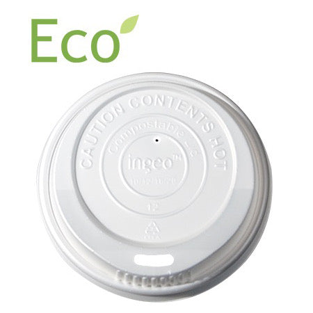 White Ingeo Compostable Lid for 10-24oz Paper Hot Cups