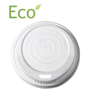 White Ingeo Compostable Lid for 8oz Paper Hot Cups