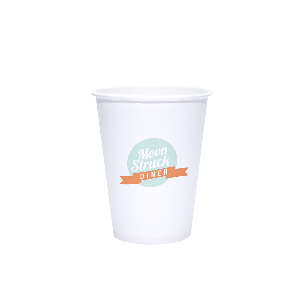 12oz Custom Printed White Paper Cold Cups
