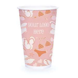 Summer 16oz Custom Printed Single Wall Paper Hot Cups