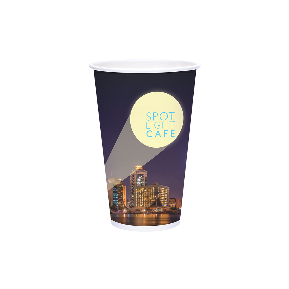 Reliance 16oz Custom Printed White Paper Hot Cups