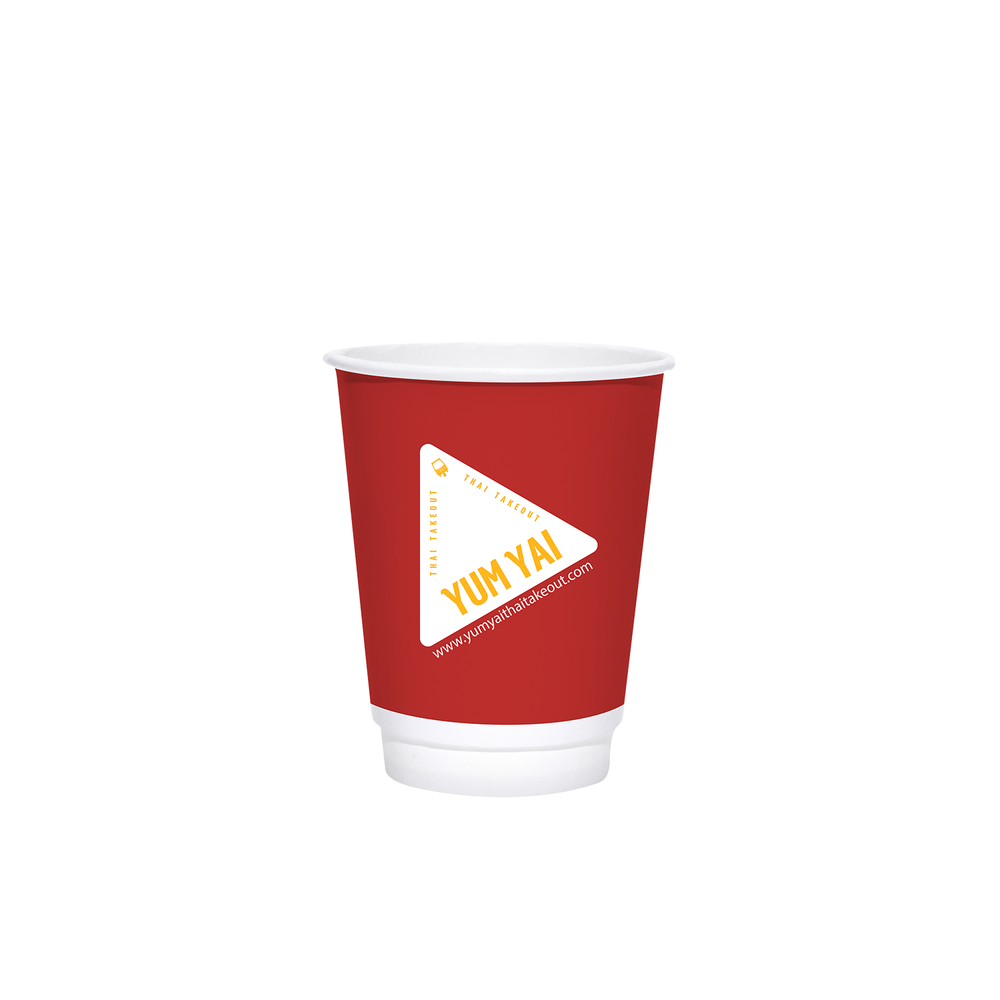 Reliance 8oz Custom Printed White Insulated Paper Hot Cups