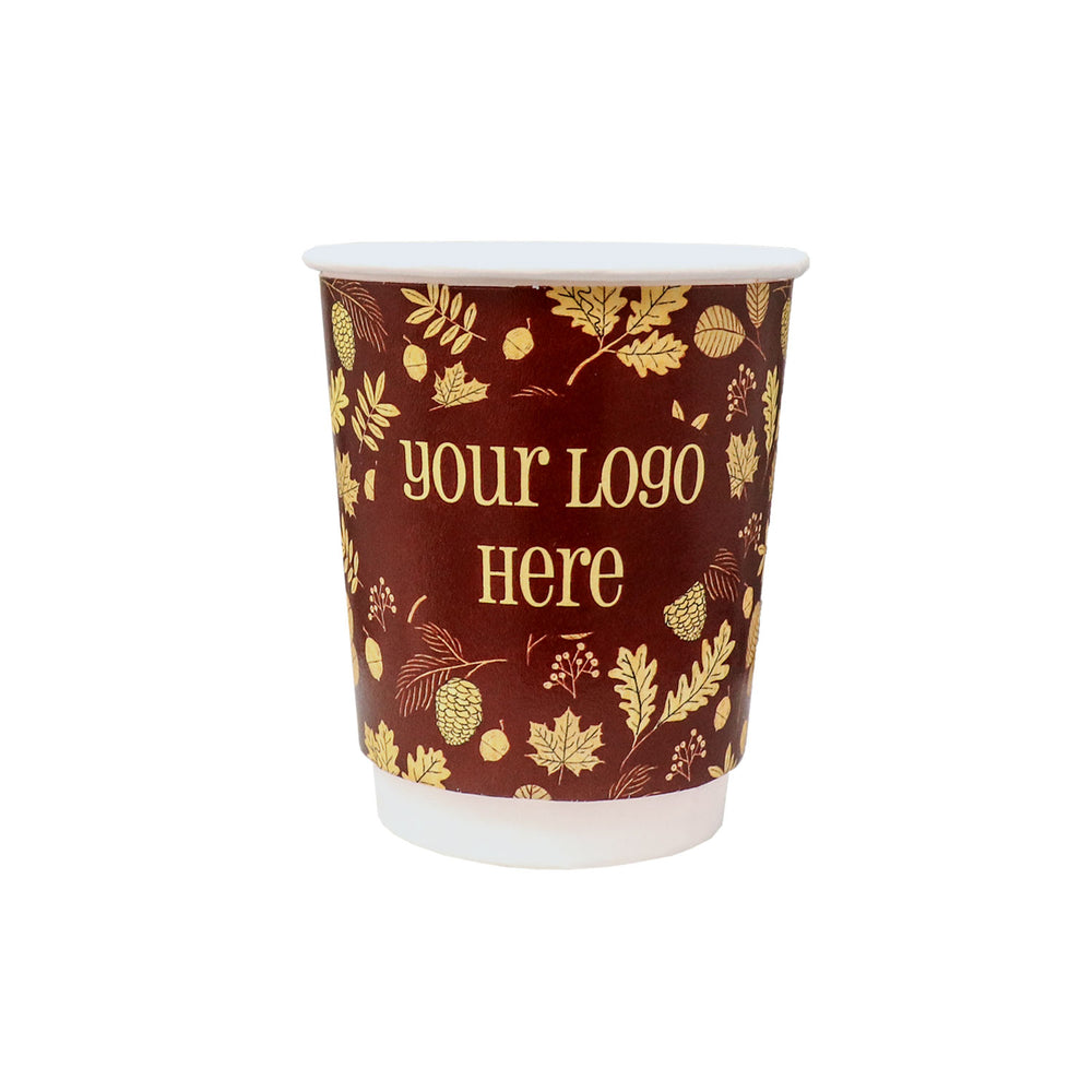 Fall 8oz Custom Printed Insulated Paper Hot Cups