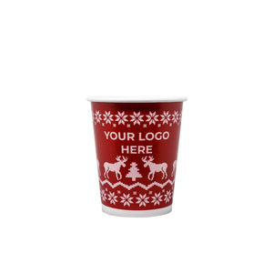 Winter 8oz Custom Printed Single Wall Paper Hot Cups