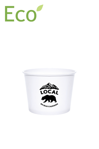 12oz Custom Printed Eco-Friendly White Paper Dessert/Soup Cups - 1 Color
