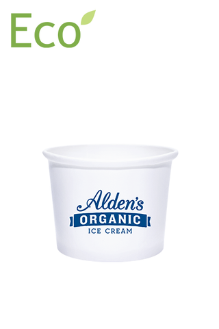 16oz Custom Printed Eco-Friendly White Dessert/Soup Cups - 1 Color