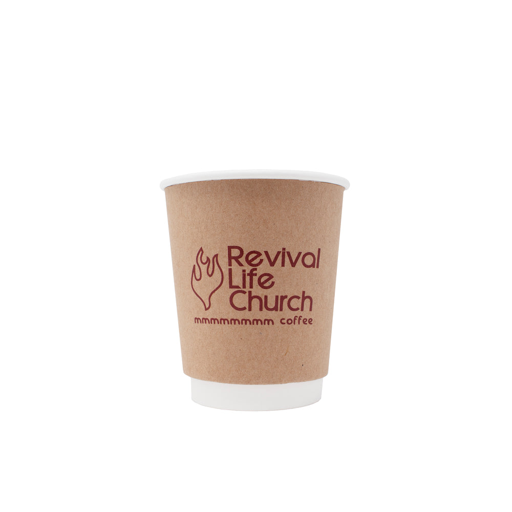 8oz Custom Printed Kraft Insulated Paper Hot Cups
