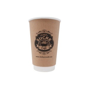 Reliance 16oz Custom Printed Kraft Insulated Paper Hot Cups