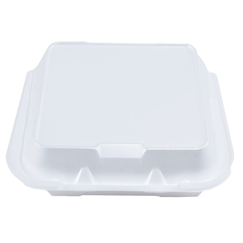 White Foam Hinged Container 8X8 - 1 Compartment