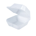 White Foam Hinged Container 6X5 - 1 Compartment