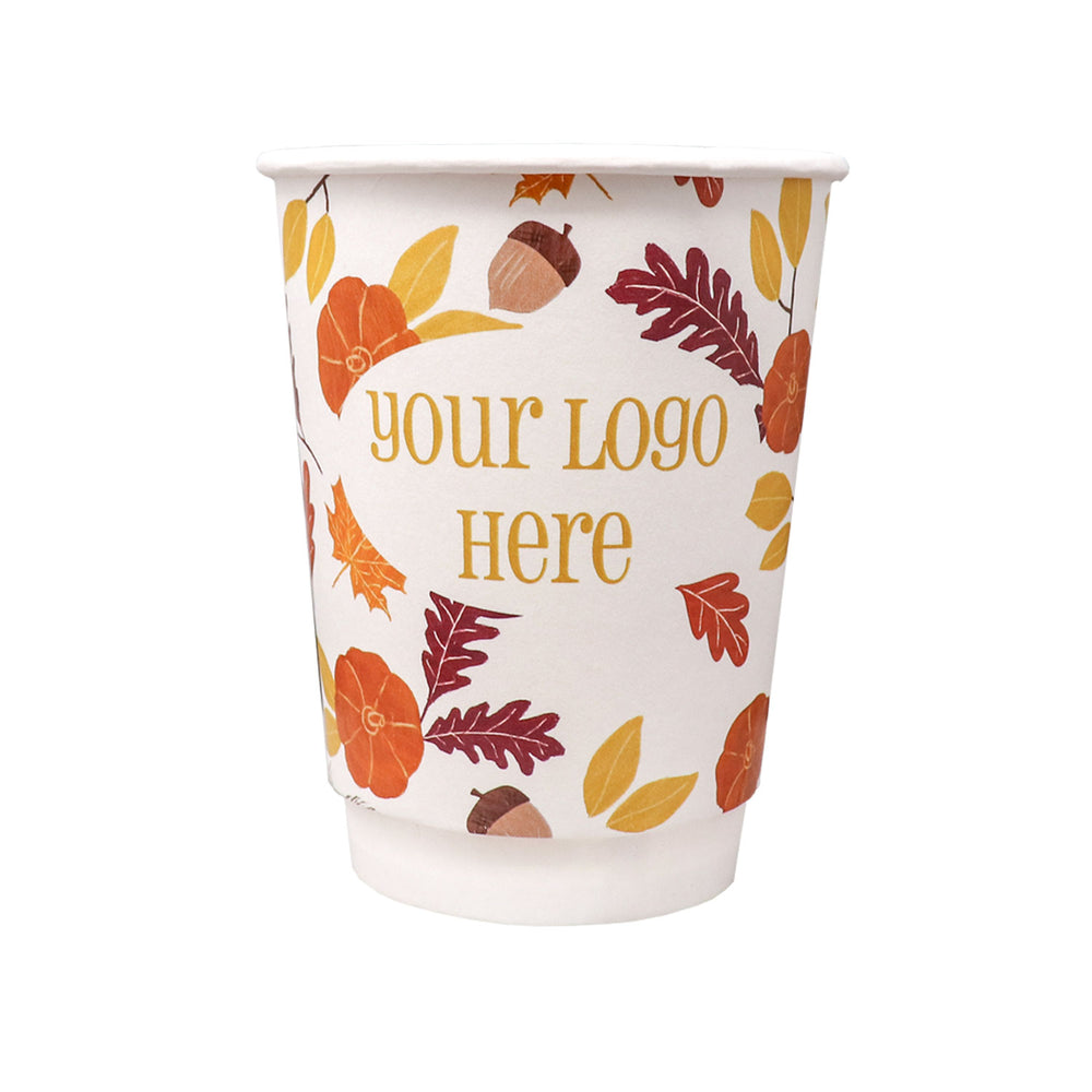 Fall 12oz Custom Printed Insulated Paper Hot Cups