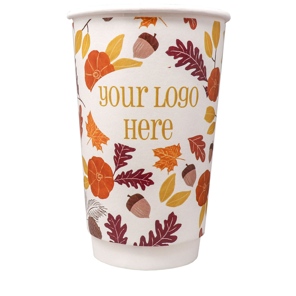Fall 16oz Custom Printed Insulated Paper Hot Cups
