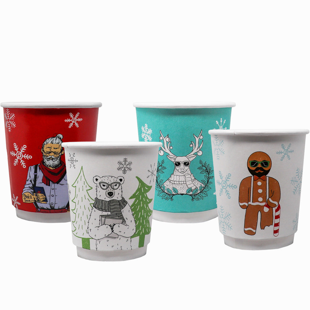 Winter 8oz Custom Printed Insulated Paper Hot Cups