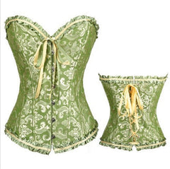 2 Tone Brocade Corset with Steel Busk