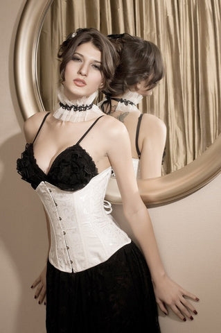 White Brocade Boned Cincher