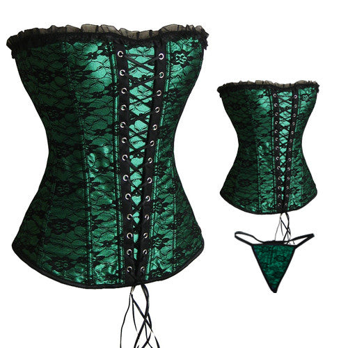 Green Satin & Lace Corset