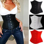 Black Satin Boned Cincher with Steel Busk