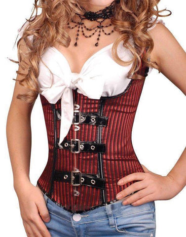 Pinstripe Underbust Corset Top with Steel Busk