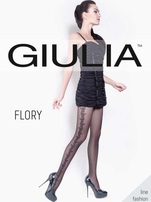 Giulia Flory Patterned Tights BLACK