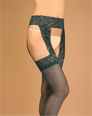 Mock Lace Garter Open Pantyhose