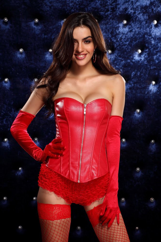 Red PU Leather Zip Corset