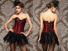 Romantic Lace Overlay Corset with Steel Busk